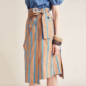 Striped Chino Midi Skirt anthropologie Eva Franco